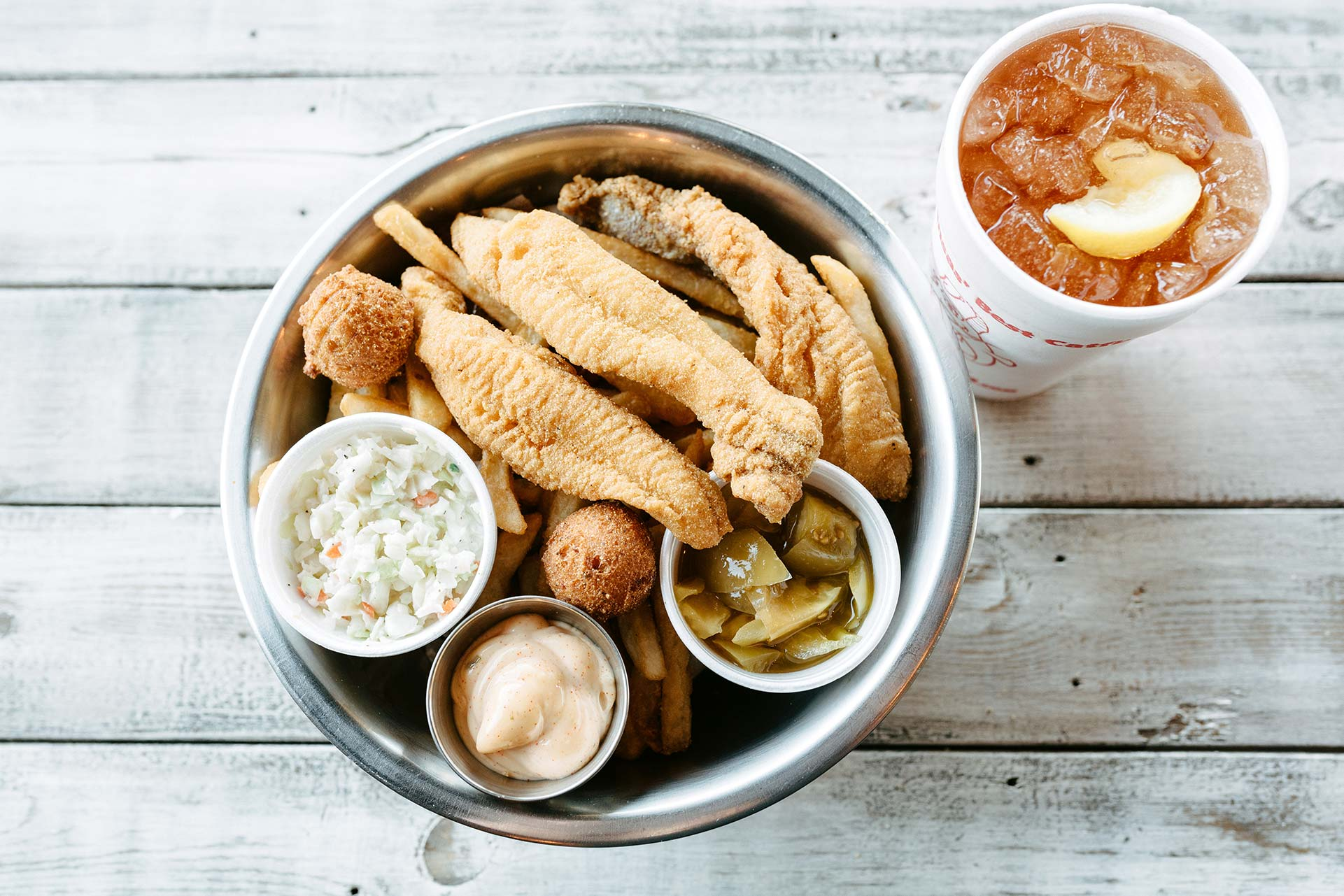 Delicious fried catfish and side dishes