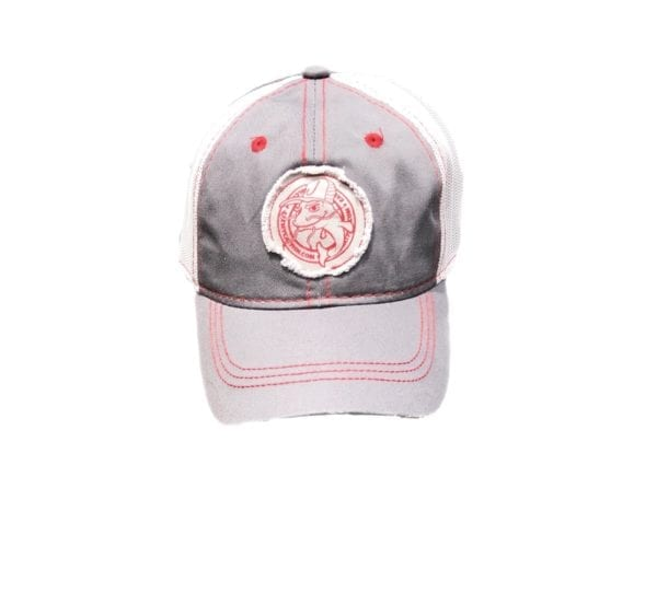 red white and grey hat